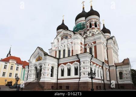 Alexander Nevsky Cathedral, a Russian Reviival style Orthodox church, by Mikhail Preobrazhensky, Toompea, Tallinn, - Stock Photo