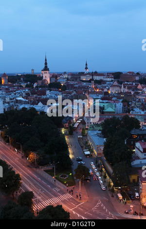 Dusk over the city centre and Old Town, UNESCO World Heritage Site, Tallinn, Estonia, Europe - Stock Photo