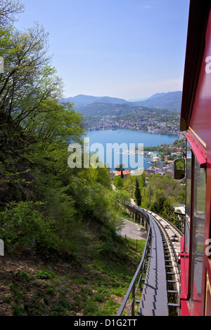 View of Monte Bre Funicular, Lake Lugano, Lugano, Ticino, Switzerland, Europe - Stock Photo
