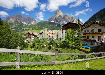 Corvara and Sass Songher Mountain, Badia Valley, Bolzano Province, Trentino-Alto Adige/South Tyrol, Italian Dolomites, - Stock Photo