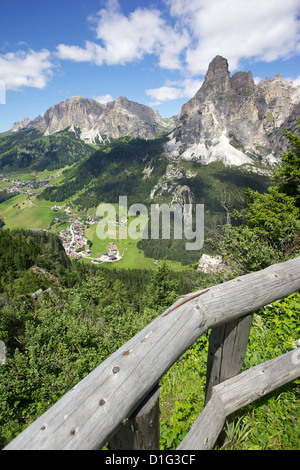 View from Col Alto, Corvara, Badia Valley, Bolzano Province, Trentino-Alto Adige/South Tyrol, Italian Dolomites, - Stock Photo