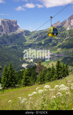 View from Col Alto and cable car, Corvara, Badia Valley, Bolzano Province, South Tyrol, Italian Dolomites, Italy - Stock Photo