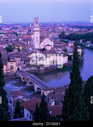 View over the city with Ponte Pietra and River Adige at dawn, Verona, UNESCO World Heritage Site, Veneto, Italy, - Stock Photo