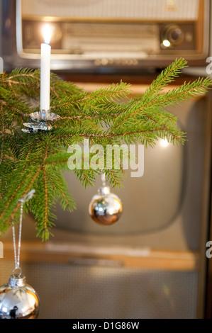 Christmas tree 1960ies - Stock Photo
