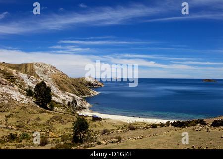 Bay on Isla del Sol, Lake Titicaca, Bolivia, South America - Stock Photo