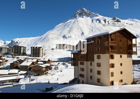 Alpine Ski resort, Tignes-le-Lac, Tignes, Savoie, Rhone-Alpes, French Alps, France, Europe - Stock Photo
