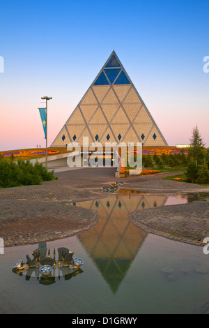 Palace of Peace and Reconciliation pyramid designed by Sir Norman Foster, Astana, Kazakhstan, Central Asia, Asia - Stock Photo