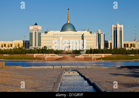 View of The Ak Orda Presidential Palace of President Nursultan Nazarbayev reflecting in Ishim River, Kazakhstan, - Stock Photo