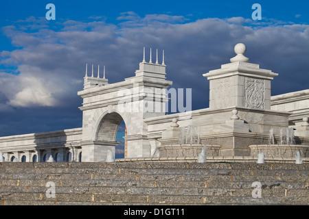 KazakYeli monument (Kazakh Country), and Shabyt Palace of Arts, Astana, Kazakhstan, Central Asia, Asia - Stock Photo