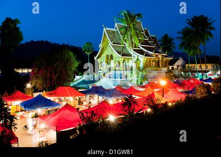 Haw Pha Bang Temple at night, Luang Prabang, Laos, Indochina, Southeast Asia, Asia - Stock Photo