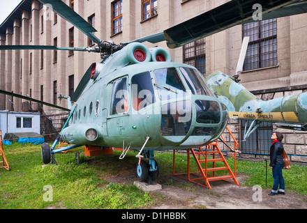 Mil Mi-8T, Soviet medium twin-turbine assault transport helicopter, Polish Army Museum in Warsaw, Poland - Stock Photo