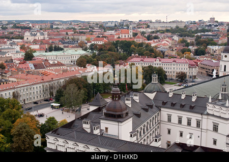 View from Gediminas' Tower across the rooftops of the old town in Vilnius, the capital of Lithuania. - Stock Photo
