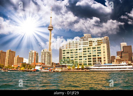 Beautiful skyline of Toronto from Lake Ontario - Canada. - Stock Photo