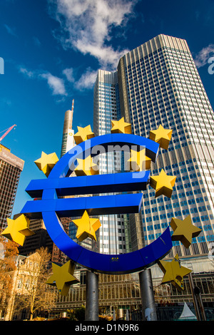 Euro monument in front of the European Central Bank headquarters at Willy Brandt Platz, Frankfurt am Main, Hesse, - Stock Photo