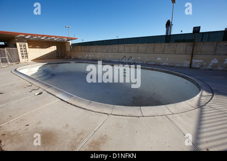 empty abandoned swimming pool at old motel on the strip Las Vegas Nevada USA - Stock Photo