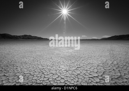 Black and white of the Black Rock Desert in Northern Nevada. - Stock Photo