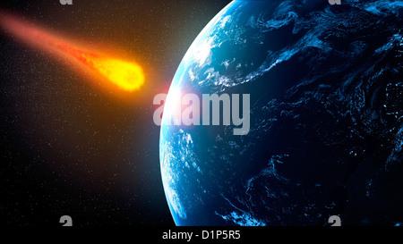 Near-Earth asteroid, artwork - Stock Photo