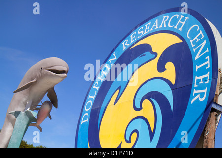 Florida Florida Keys US Route 1 One Overseas Highway Grassy Key Marathon Dolphin Research Center centre sign entrance - Stock Photo