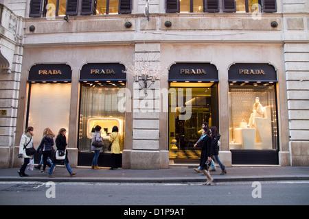 Prada store shop Via Condotti Rome Italy shopping - Stock Photo