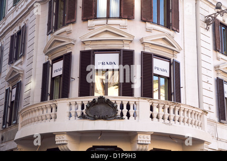 Prada luxury shop store Rome Italy shopping - Stock Photo