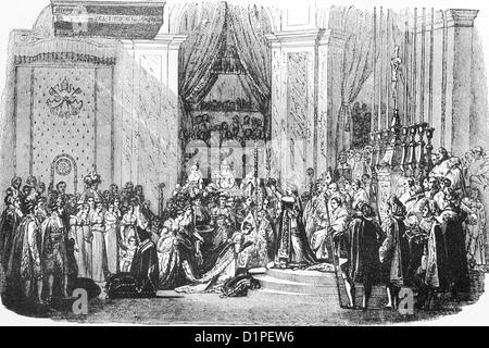 Coronation of French emperor Napoleon I in Notre Dame, Paris. 2 December 1804. Antique illustration, 1856. - Stock Photo