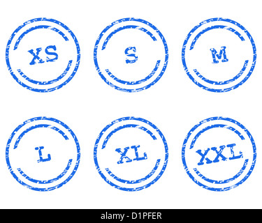 Clothing size stamps - Stock Photo