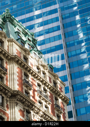Contrasting Architecture in Times Square, NYC - Stock Photo