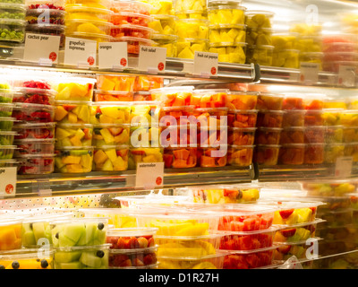 Grand Central Market, Prepared Fruit Containers Eli Zabar's, Grand Central Market, NYC - Stock Photo