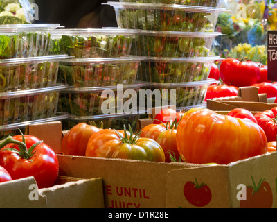Salad Containers and Tomatoes,  Eli Zabar's, Grand Central Market, NYC - Stock Photo