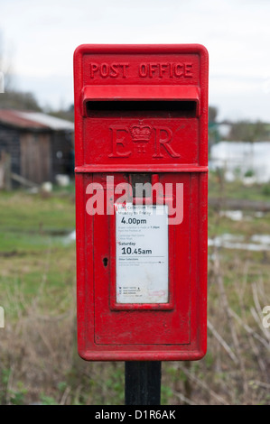 Royal mail post box in a rural area near Cambridge UK - Stock Photo