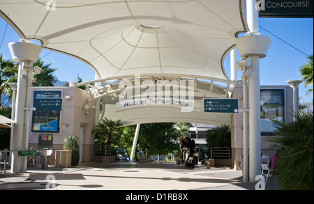 Color photograph of the arrivals area of the Palm Springs, CA International Airport, Palm Springs, California, USA, - Stock Photo