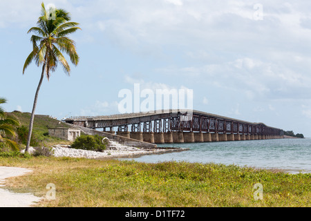 Old Bahia Honda rail bridge and heritage trail in Florida Keys, USA - Stock Photo