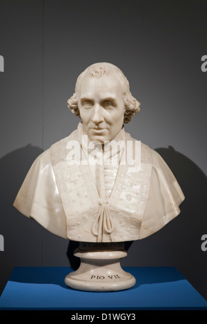 Marble bust of Pope Pius VII by Antonio Canova. Exhibition on Antonio Canova at the Museum of Rome in Palazzo Braschi. - Stock Photo