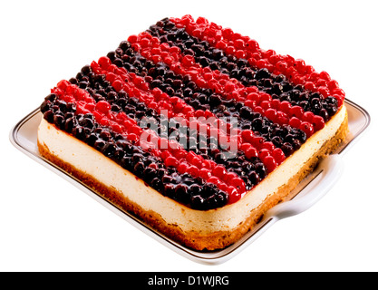 CUT OUT OF BLUEBERRY AND REDCURRANT CHEEESECAKE - Stock Photo