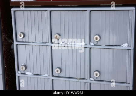 canada post post mailboxes in rural small town Forget Saskatchewan Canada - Stock Photo