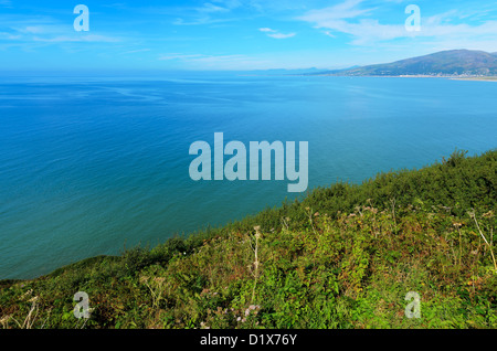 Cardigan Bay viewed from cliff above Barmouth in Gwynedd Wales. - Stock Photo