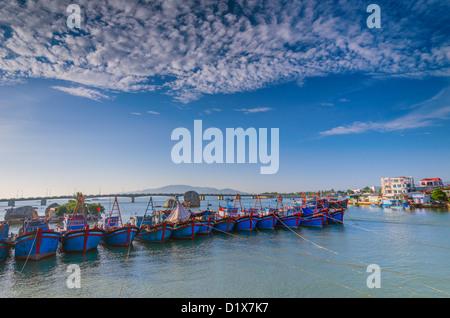 Fishing Boats in Nha Trang Harbor, Vietnam - Stock Photo
