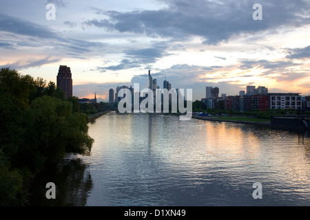 Frankfurt am Main, Hesse, Germany. View along the Main to the city's high-rise business district, famously known - Stock Photo