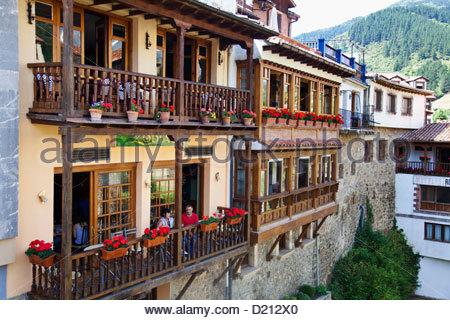Potes, small village on the river Quiviesa, Potes, Cantabria, Spain - Stock Photo