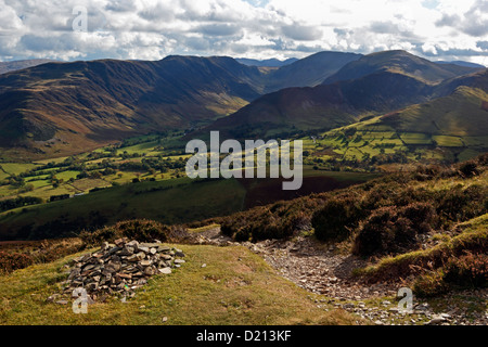 The view over Keskadale from Causey Pike in the Lake District National Park, Cumbria. - Stock Photo