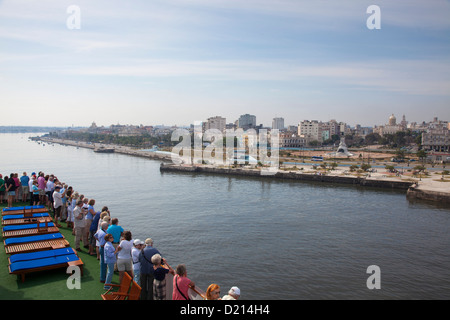 Cruise ship MS Deutschland (Reederei Peter Deilmann) entering Havana harbor, Havana, Havana, Cuba, Caribbean - Stock Photo