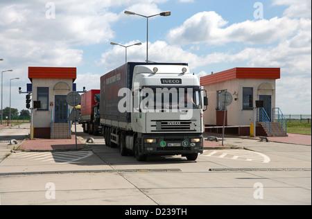 Koroszczyn, Poland, trucks imported into the truck terminal Koroszczyn - Stock Photo
