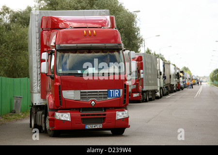 Koroszczyn, Poland, trucks for export from the truck terminal Koroszczyn - Stock Photo