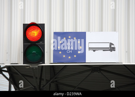 Koroszczyn, Poland, the traffic light is red at the truck terminal Koroszczyn - Stock Photo