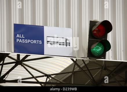 Koroszczyn, Poland, the traffic light is green on the truck terminal Koroszczyn - Stock Photo