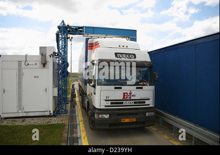 Koroszczyn, Poland, the charge of a truck is scanned - Stock Photo