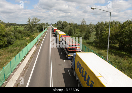 Koroszczyn, Poland, trucks wait for clearance for exports - Stock Photo