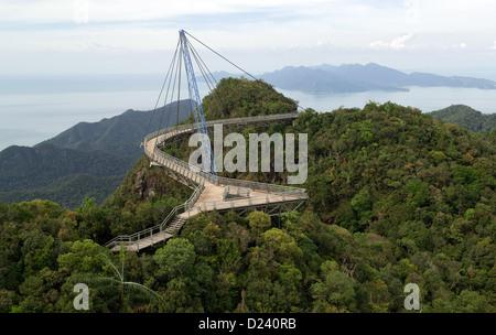 View of the Langkawi Sky Bridge at Langkawi Island, Malaysia, 13 November 2012. The 125 m long pedestrian bridge - Stock Photo