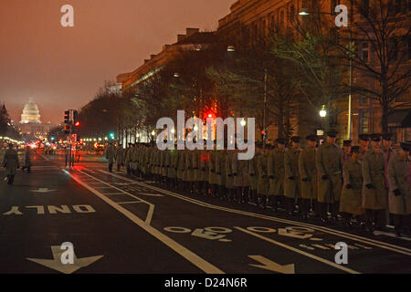 U.S. Marines march down Pennsylvania Avenue prior to the dress rehearsal for the presidential inaugural parade in - Stock Photo