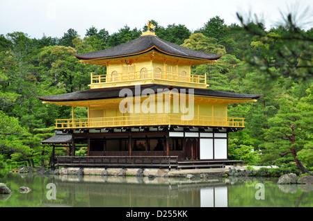 Kinkaku-ji, Temple of the Golden Pavilion, officially named Rokuon-ji, is a Zen Buddhist temple in Kyoto, Japan. - Stock Photo